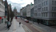 Drone photos show empty roads in Belfast City Centre. Picture By: Arthur Allison/Pacemaker.