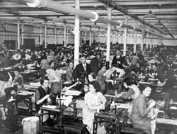 The stitching room of the Belfast Collar Company BELFAST TELEGRAPH ARCHIVE