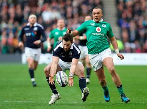 Tommy Seymour of Scotland  vies with Simon Zebo of Ireland during the RBS 6 Nations match between Scotland and Ireland at Murrayfield Stadium on February 4, 2017 in Edinburgh, Scotland. (Photo by Ian MacNicol/Getty Images)