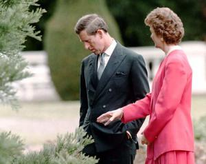 Ireland's President Mary Robinson shows Britain's Prince of Wales a tree planted by Queen Victoria during a tour of the grounds of her official residence (Martin Keene/PA)
