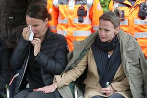 Noaha's aunt Niamh (left) and Shona at the vigil. Photograph by Declan Roughan