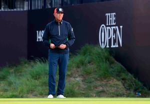 USA's Tom Lehman before his first tee shot during day two of The Open Championship 2019 at Royal Portrush Golf Club. PRESS ASSOCIATION Photo. Picture date: Friday July 19, 2019. See PA story GOLF Open. Photo credit should read: Niall Carson/PA Wire. RESTRICTIONS: Editorial use only. No commercial use. Still image use only. The Open Championship logo and clear link to The Open website (TheOpen.com) to be included on website publishing.