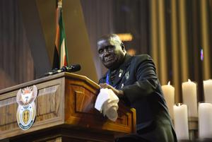 Former President of Zambia Kenneth Kaunda speaks during the funeral service for former South African President Nelson Mandela in Qunu, South Africa, Sunday, Dec. 15, 2013. (AP Photo/Odd Andersen, Pool)