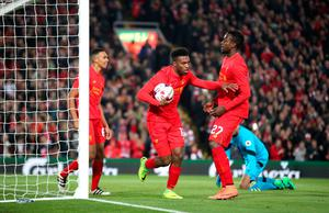 Liverpool's Daniel Sturridge celebrates scoring his side's first goal of the game during the EFL Cup, round of 16 match at Anfield, Liverpool. PA
