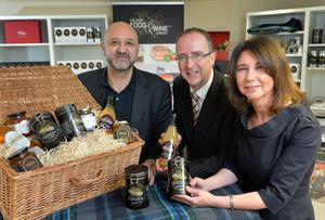 The Good Food & Wine Company, a Ballymoney-based food development business, is investing over £200,000 in jobs and innovation with support from Invest Northern Ireland. Pictured (centre) is Des Gartland, Invest NI, with Nicholas & Michelle Lestas, co-founders of The Good Food & Wine Company.Pic by Aaron McCracken/Harrisons