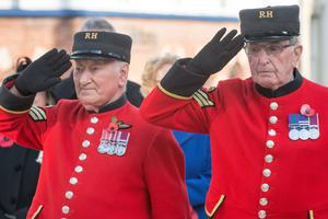Chelsea Pensioners Paddy Fox and Walter Swann take part in the service at the Cenotaph at The Diamond in Londonderry
