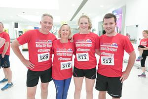 GRANT THORNTON RUNWAY RUN SCALES NEW HEIGHTS Robert Bell, Jill Bell, Sacha Bell and Sam Brown get warmed up for last nightÕs Grant Thornton Runway Run at Belfast City Airport. The hugely-popular event attracted a record number of runners as 600 local businessmen and women took part in the 5k run on the tarmac of the airport. Teams of four from organisations across a wide range of sectors came together for the third year of the leading business advisory firmÕs event. Ê