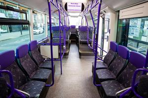 Empty seats on the Glider Bus in Belfast on Tuesday March 24, 2020 as people are asked to stay at home.  Liam McBurney/PA Wire