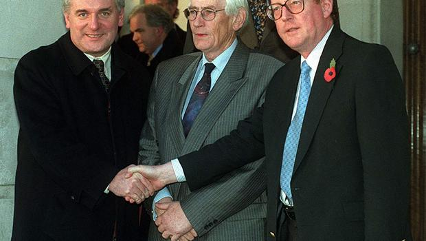 PACEMAKER BELFAST 02/11/98 Irish PM Bertie Aherne shakes hannds with Northern Ireland's first minister David Trimble and his deputy Seamus Mallon as he arrives at Stormont for talks this evening. 02/04/08 Irish Prime Minister Bertie Ahern has announced he is to resign in May. Mr Ahern, 56, has been taoiseach since June 1997 and has been a member of the Irish Parliament for 31 years.
