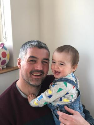 Conall O Mairtin and his one-year-old son Naoise