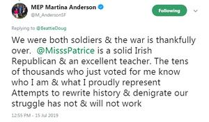 The tweet by Martina Anderson.