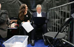 Former First Minister Peter Robinson and his daughter Rebekah pictured at the election count at Titanic Exhibition Centre Belfast for Belfast South, Belfast West, Belfast East and Belfast North. Photo by Kelvin Boyes / Press Eye.