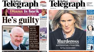 Colin Howell and Hazel Stewart both appeared on the front page of the Belfast Telegraph after their respective guilty verdicts