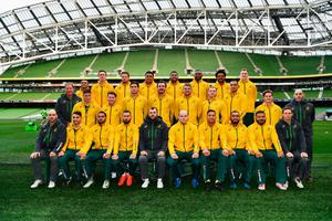 DUBLIN, IRELAND - NOVEMBER 25:  Players and coaching staff pose prior to the Australia Captain's Run on the eve of their international match against Ireland at Aviva Stadium on November 25, 2016 in Dublin, Ireland.  (Photo by Dan Mullan/Getty Images)