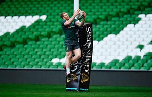 DUBLIN, IRELAND - NOVEMBER 25:  David Pocock collides with a post as he catches the ball during the Australia Captain's Run on the eve of their international match against Ireland at Aviva Stadium on November 25, 2016 in Dublin, Ireland.  (Photo by Dan Mullan/Getty Images)