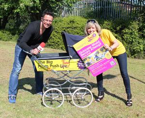Citybeat's Stephen Clements launches the TinyLife World Record Pram Push with the charity's events officer Samara Prentice