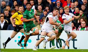 Ulster's Nick Timoney runs in a try (INPHO/Tommy Dickson)