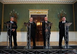 5/2.10 PACEMAKER PRESS INTL. GORDON BROWN, PETER ROBINSON, MARTIN MCGUINNESS AND BRIAN COWAN TALK TO THE PRESS THIS MORNING AT HILLSBOROUGH AS THE DEAL FOR DEVOLVING POLICING AND JUSTICE WAS FINALLY DONE LATE LAST NIGHT. PICTURE CHARLES MCQUILLAN/PACEMAKER.