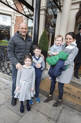 Ireland Captain Rory Best with his wife Jodie and children Penny (5), Ben (7) and Richie (2) while leaving the Shelbourne hotel after winning the Six Nations by beating  Scotland. Pic:Mark Condren 11.3.2018