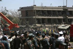 Security forces are seen in front of the German Embassy after a suicide attack in Kabul, Afghanistan, Wednesday, May 31, 2017. Photos: Rahmat Gul, AP