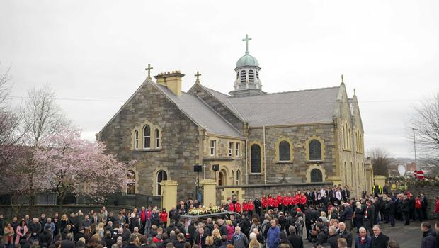 Pacemaker press 23/03/17 The funeral of Ryan McBride has taken place at St Columba's Church in Derry tributes have been paid to Derry City captain Ryan McBride, who died suddenly aged 27.Picture Mark Marlow/pacemaker