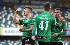 Press Eye - Belfast, Northern Ireland - 31st July 2020 - Photo by William Cherry/Presseye  Glentoran's Paul O'Neill celebrates scoring against Ballymena United during Friday nights Sadler's Peaky Blinder Irish Cup Final at the National Stadium at Windsor Park, Belfast.    Photo by William Cherry/Presseye