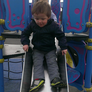 Oscar Knox enjoying a day out in the park
