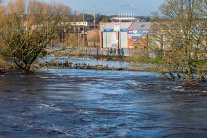 Flooding in Co Tyrone on Sunday after Storm Desmond brought sustained periods of heavy rainfall to Northern Ireland. Pic: Martin McKeown.