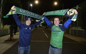 12th November 2020 Northern Ireland fans pictured as they arrive at the National Stadium in Belfast ahead of tonights game against Slovakia Kris Malone and Lee Montgomery from Newtownabbey Mandatory Credit : Stephen Hamilton