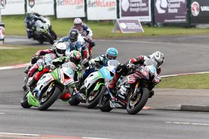 PACEMAKER BELFAST  13/05/2016 Michael Dunlop takes the lead in the Supersport race at todays Vauxhall International North West 200. Photo Stephen Davison/Pacemaker Press