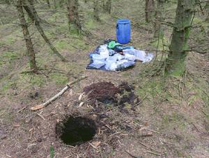 An underground hide found in the forest in County Antrim, Northern Ireland.