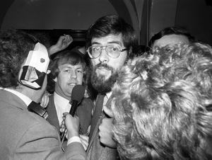 PACEMAKER PRESS INTL. BELFAST. Gerry Addams Sinn Fein pictured at the City Hall after his election win in West Belfast. 25/10/82. 1073/82/bw