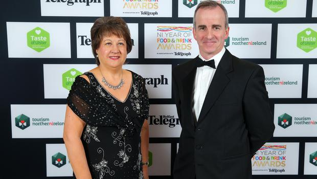 Press Eye - Belfast - Northern Ireland - 2nd February 2017 -    NI Year of Food & Drink Awards at the Culloden Hotel.  Kathleen McCaul and Patrick McKeown pictured at the NI Year of Food & Drink Awards at the Culloden Hotel.  Photo by Kelvin Boyes / Press Eye.