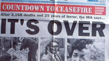 Belfast Telegraph. Page One. IRA Ceasefire Announced 'IT'S OVER' Front page headline.  31/8/1994