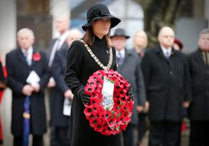 Lord Mayor of Belfast Nichola Mallon lays a wreath at the Cenotaph in Belfast