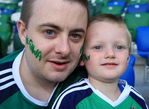 PressEye-Northern Ireland- 2nd June 2017-Picture by Brian Little/PressEye  Nathan and Oscar Dodds (3) from Belfast   supporting Northern Ireland against    New Zealand  during Friday night's Vauxhall  International at  the National Football Stadium, Windsor Park ,Belfast. Picture by Brian Little/PressEye