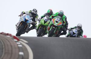 PressEye-Northern Ireland- 13th May  2017-Picture by Brian Little/PressEye  William Dunlop EC/Caffrey Yamaha R6 leads Alastair Seeley Gear Link Kawasaki   over Black Hill during Saturday's Bet McLean .Com Supersport Race  at the Vauxhall International 2017 North West 200 around the  8.9 mile Triangle course. Picture by Brian Little/PressEye