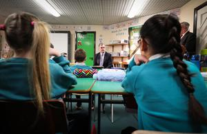 Press Eye - Belfast - Northern Ireland - 10th January 2020 -    Secretary of State for Northern Ireland Julian Smith is pictured meeting pupils during a visit to Maghaberry Primary School in County Antrim this morning.   Photo by Kelvin Boyes  / Press Eye.