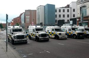 A substantial police operation was mounted ahead of the anti-internment parade which was due to pass through the city centre. David Young/PA Wire