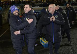 Toals County Antrim Shield final between Crusaders and Linfield at the Showgrounds in Ballymena.  Linfields manager David Healy celebrates after winning the Co Antrim Shield. Photograph by Presseye/Stephen Hamilton