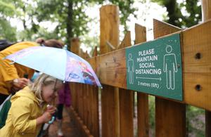 A social distancing sign at the the Wild Place Project in Bristol (PA)