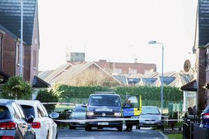 The scene at Lewis Drive in east Belfast where detectives are investigating an overnight attack on a property on the street.  Picture by Jonathan Porter/PressEye