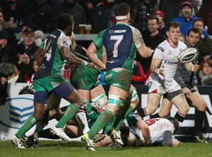 Ulster Craig Gilroy scores a try against  Connacht      during Friday night's Guinness PRO 12 match at the Kingspan Stadium, Ravenhill Park. Picture by Brian Little/Presseye