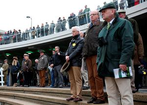 Racegoers observe a minutes silence for the victims of the Paris terrorist attacks during day two of The Open meeting, at Cheltenham Racecourse. PRESS ASSOCIATION Photo. Picture date: Saturday November 14, 2015. See PA story RACING Cheltenham. Photo credit should read: Tim Goode/PA Wire