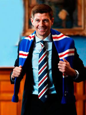 Incoming Rangers manager Steven Gerrard at Ibrox