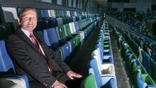 In the hotseat: David Martin at Windsor Park last night after being elected President of the Irish FA