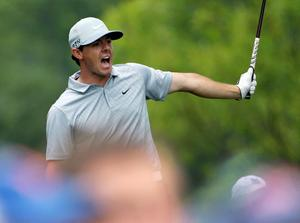 Rory McIlroy watches his tee shot on the 12th hole during the second round of the PGA Championship golf tournament at Valhalla