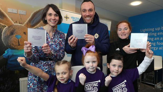Kids who take part in the Shooting Stars skills initiative for girls aged four to seven and Northern Ireland senior women's captain Marissa Callaghan joined Anne Smyth of Electric Ireland and Michael Boyd, the Irish FA's Director of Football Development, to celebrate the Game Changers campaign taking the top accolade at this year's European Sponsorship Association Awards.