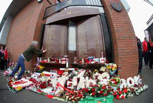 LIVERPOOL, ENGLAND - APRIL 13:  View of floral tributes laid in memory of the victims of the Hillsborough disaster, on the 25th anniversary of the tragedy prior to the Barclays Premier League match between Liverpool and Manchester City at Anfield on April 13, 2014 in Liverpool, England.  (Photo by Alex Livesey/Getty Images)