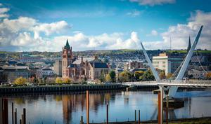 General view of the Guildhall and Peace Bridge as A march commemorating the 50th anniversary of the historic civil rights rally in Londonderry leaves Duke Street for Shipquay street on October 6th 2018 (Photo by Kevin Scott / Belfast Telegraph)